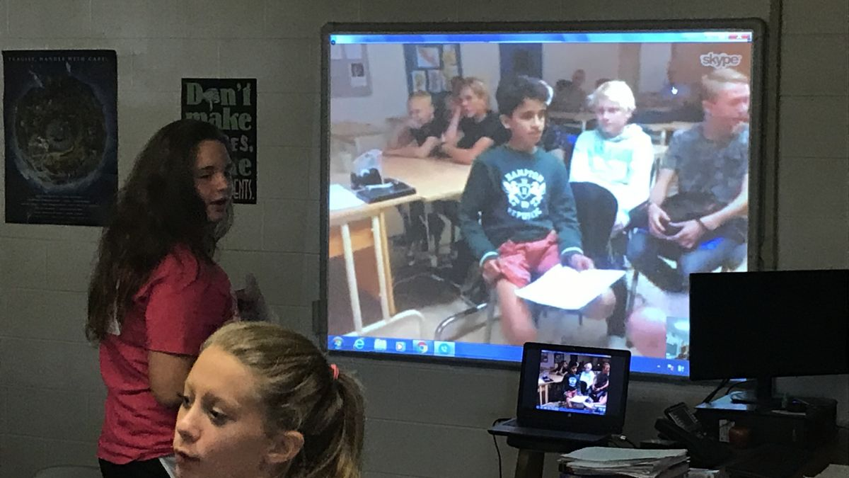 Middle School Students Skyping With A Class in Sweden
